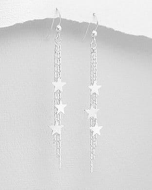 925 Sterling Silver Star Drop Earrings